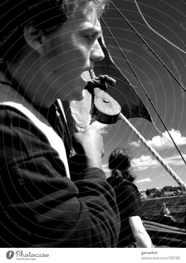 set sail Viking Ship Watercraft Deflecting roller Block Man Silhouette Effort knotted rahsegel Rope Face Profile Pull