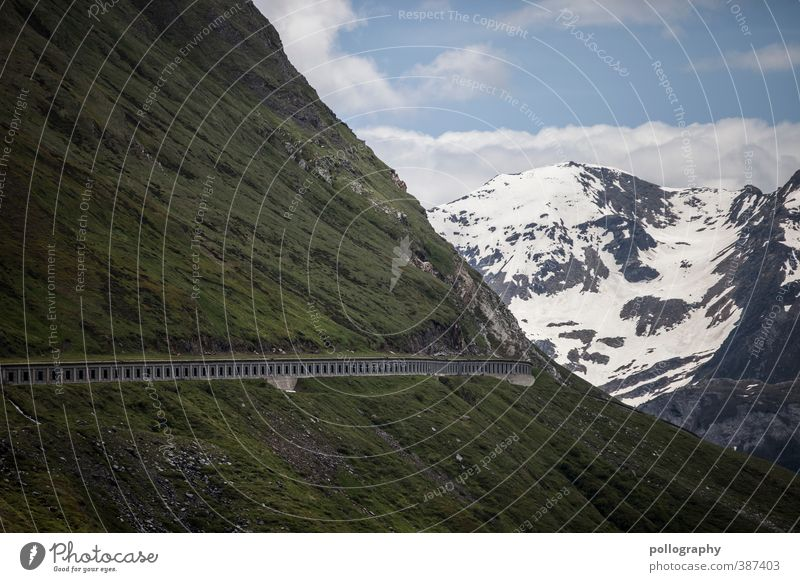 the road to the prophet Nature Plant Sky Clouds Summer Beautiful weather Snow Grass Meadow Hill Rock Alps Mountain Peak Snowcapped peak Street Lanes & trails