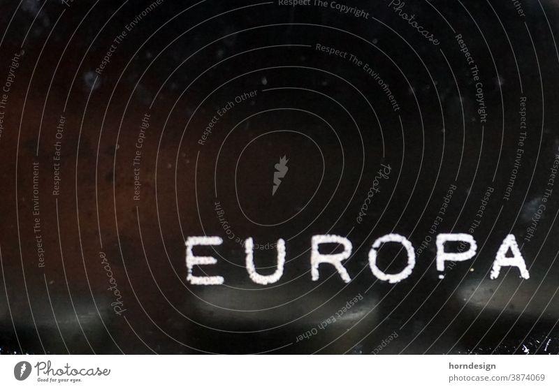 Europe lettering EU European Union Detail of an old typewriter