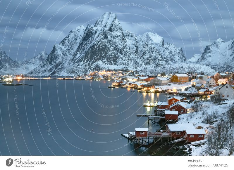Pure on the Lofoten at the blue hour Reine Lofotes Norway Scandinavia Winter Snow Evening mountain Rorbuer Fjord Reinefjorden coast North Vacation & Travel