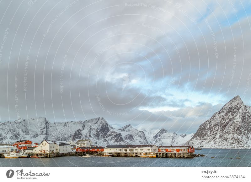 The port of Hamnoy on the Lofoten with fishing boats in winter hamnoy Lofotes Norway Scandinavia Harbour Mountain Snowcapped peak Vacation & Travel Fjord Reine