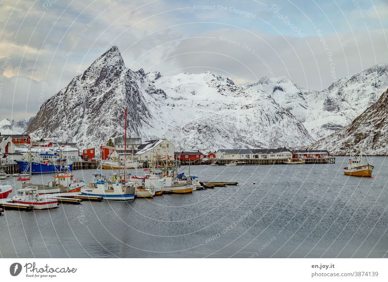 The port of Hamnoy on the Lofoten with fishing boats in winter hamnoy Lofotes Norway Scandinavia Harbour Mountain Snowcapped peak Vacation & Travel Reine