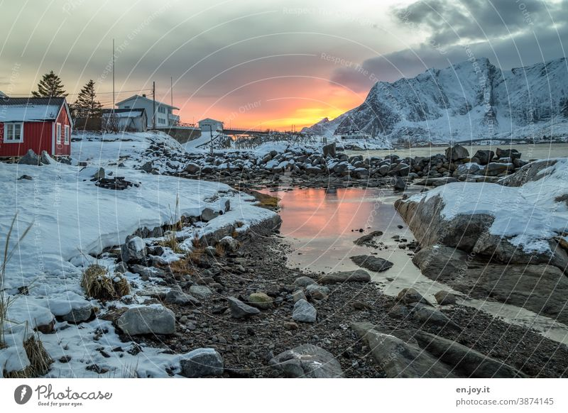 colour combination | light and dark...sunset in Reine on the Lofoten in winter Lofotes Norway Scandinavia Hamnøy Winter Rorbuer Hut Sunset Snow Rock Water Sky