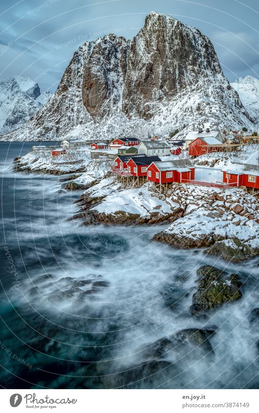 Winter in the Lofoten Islands Hamnøy Lofotes Scandinavia Vacation & Travel Rock Reine Norway Rorbuer Tourism Fishermans hut Fjord Hut Vacation home Mountain