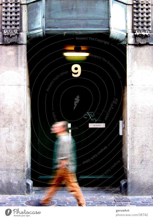 next door Green House number 9 Man Forwards Going Blur Architecture Door Movement