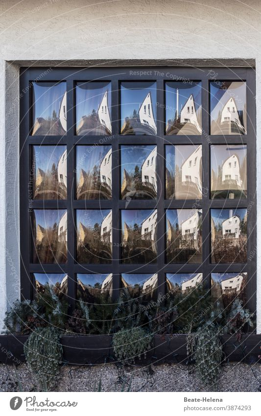 View through the distorting mirror Mirror Bullseye pane warhol Mirror image Reflection tousled Window Neighbor's house Window box frisky change of perspective