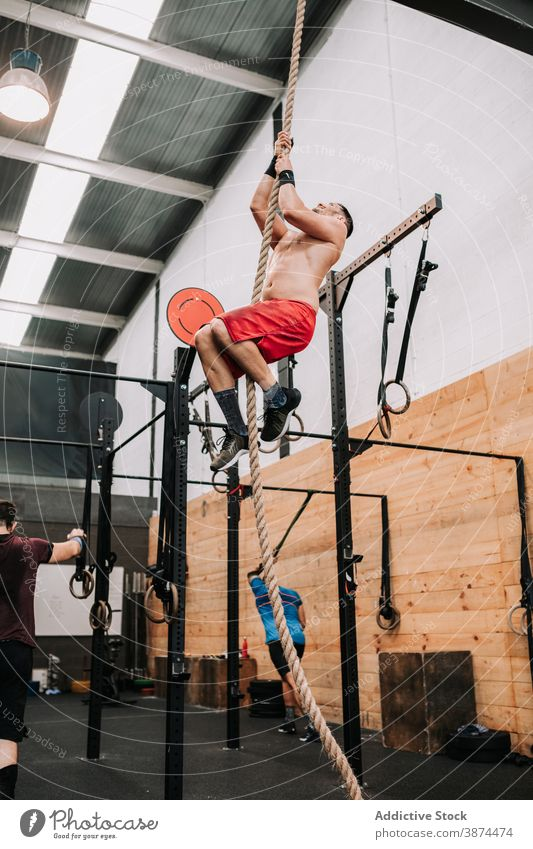 Athletic man climbing rope in gym workout functional sportsman strong effort endurance training male athlete motivation activity wellbeing stamina wellness