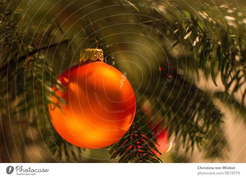 orange christmas tree ball hangs on the christmas tree Glitter Ball Christmas & Advent Christmas decoration Christmas tree decorations Sphere Tradition