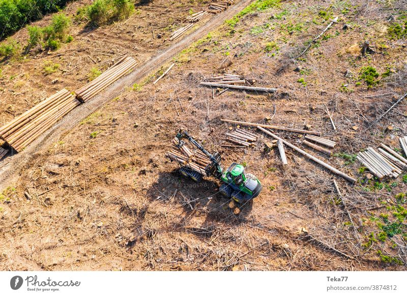 Harvester from above 2 Climate change Bark-beetle Summer Machinery Logging Woodcutter modern harvester Woodground Forest