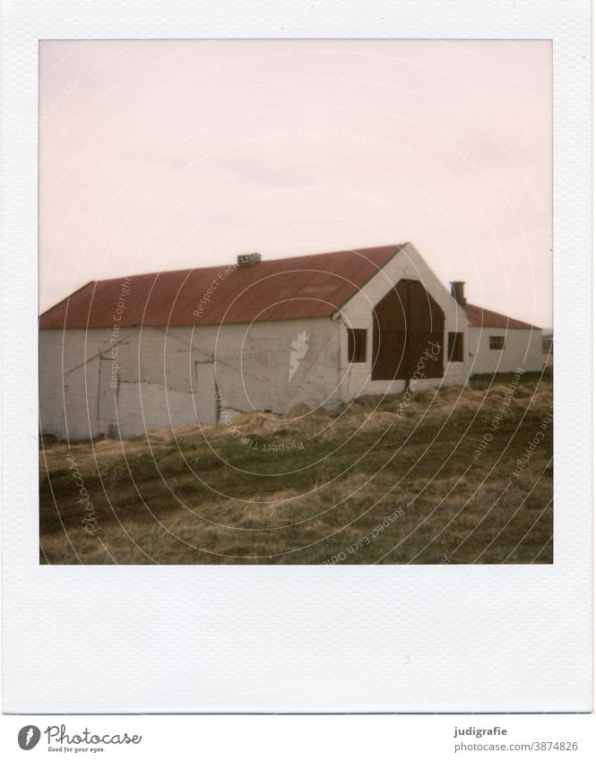 Icelandic house on Polaroid House (Residential Structure) Hut dwell Window Exterior shot Building Loneliness Living or residing Colour photo Deserted door