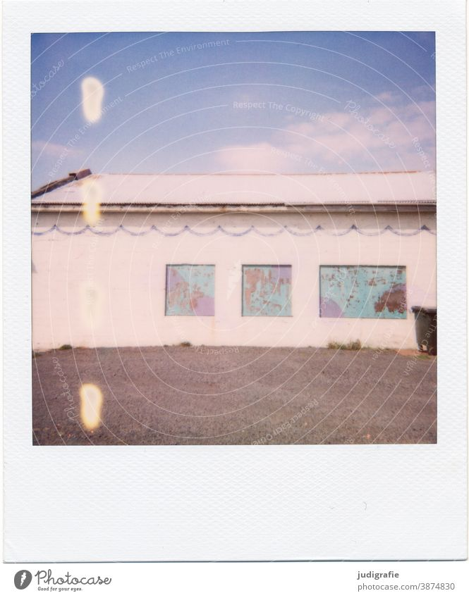 Icelandic house on Polaroid House (Residential Structure) Hut dwell Window Exterior shot Building Loneliness Colour photo Deserted door forsake sb./sth. Facade