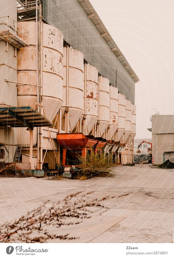 Industrial hall with silos Industry Goal Architecture Production Gray White clean lines graphically Building Garage Deserted Transport Parking garage Container