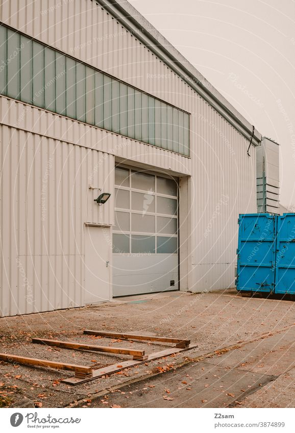 Industrial hall Industry Goal Architecture Production Parking Gray White clean lines graphically Building Garage Deserted Transport Parking garage Container