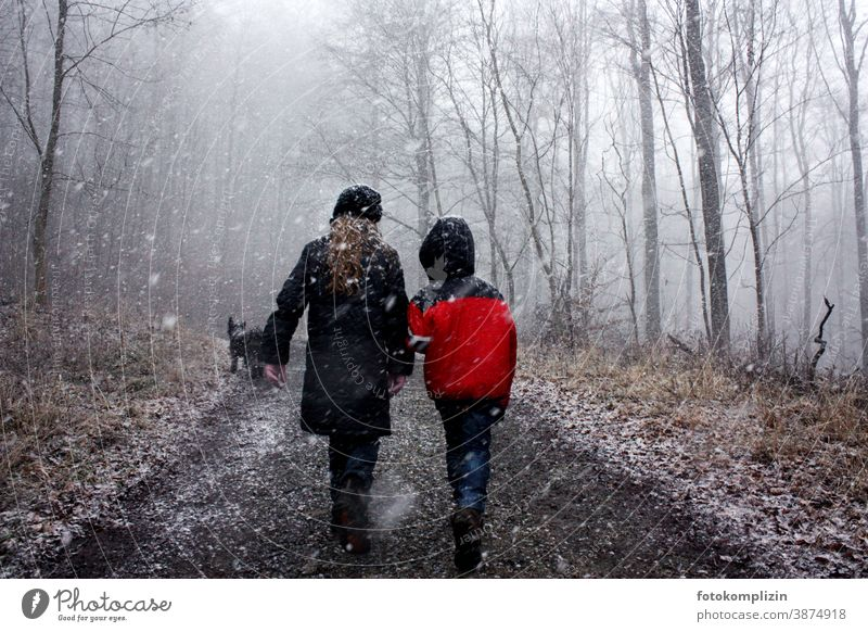 two children in the wintry forest Winter walk Friendship winterly peace Winter forest Winter mood togetherness To go for a walk Winter's day cold season