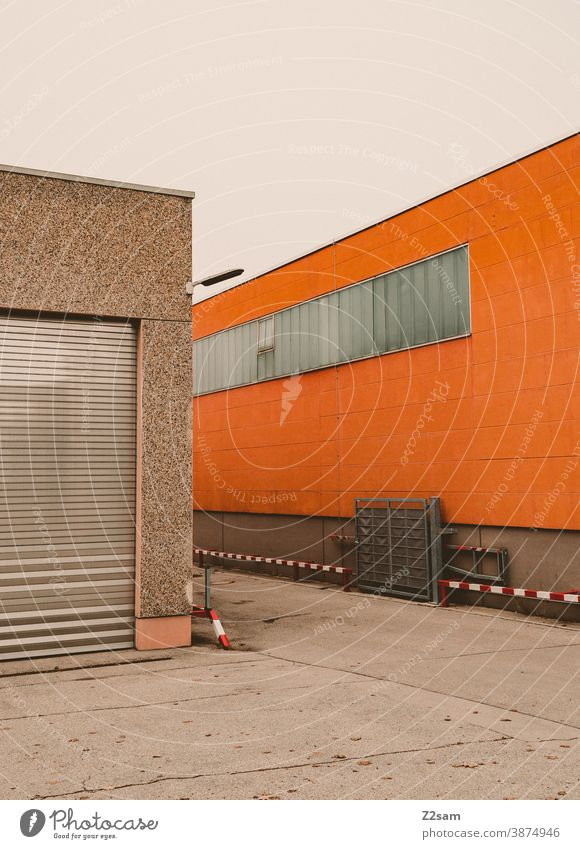 industrial architecture Industry Architecture Industrial hall Industrial area Goal Hall Factory Factory hall lines minimalism Concrete Lonely Loneliness