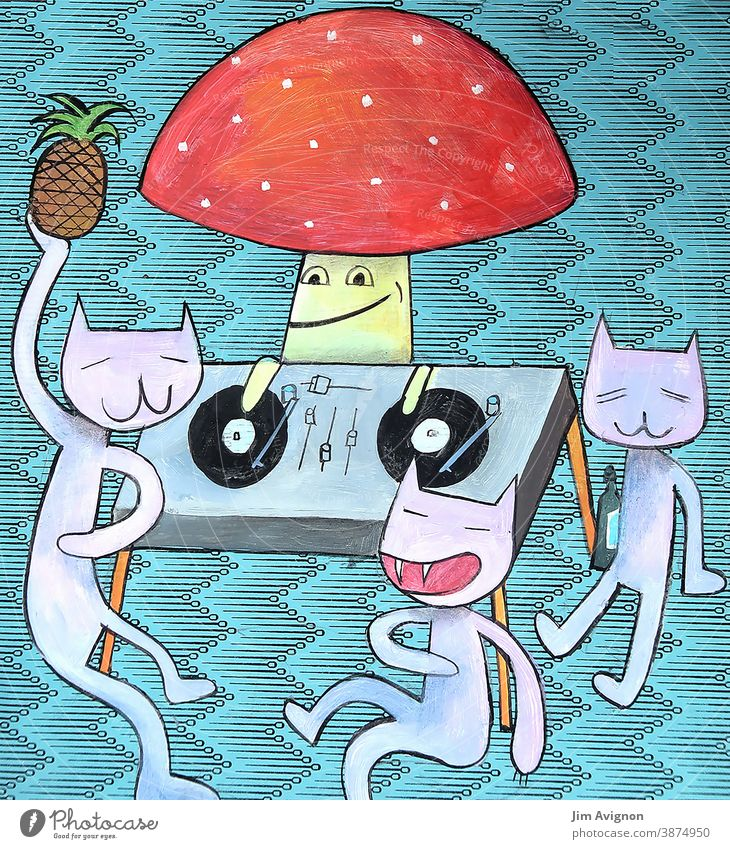 Small Party togetherness dancing Together dj Toadstool Music Mushroom Cocktail Cat Illustration Drinking celebration Pattern Dance floor Party mood electro