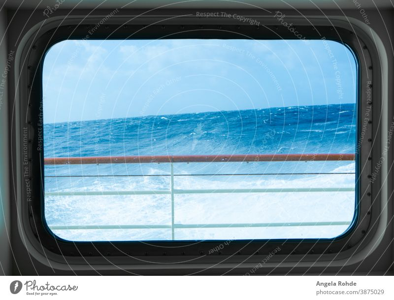 View of the stormy sea from a cabin window of a cruise ship Cruise Cabin windows Window Atlantic Ocean Sea waves Cruise liner Ocean Horizon Splashing Wild