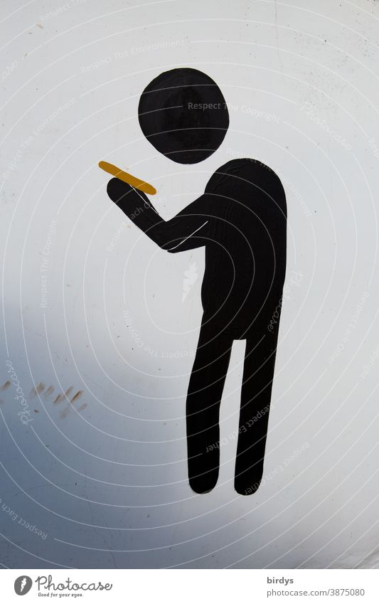 Pictogram of a person looking at his smartphone. Neutral background Online pictogram Mobile phone use Digital Media Addiction Cellphone Myopia News services
