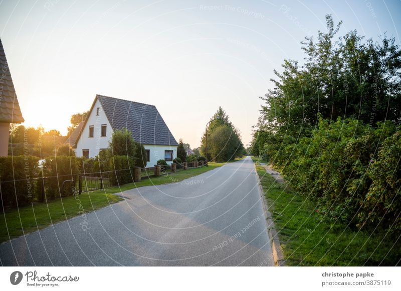 House in rural environment House (Residential Structure) Detached house real estate Home dwell off Sunset Sunlight Deserted Living or residing