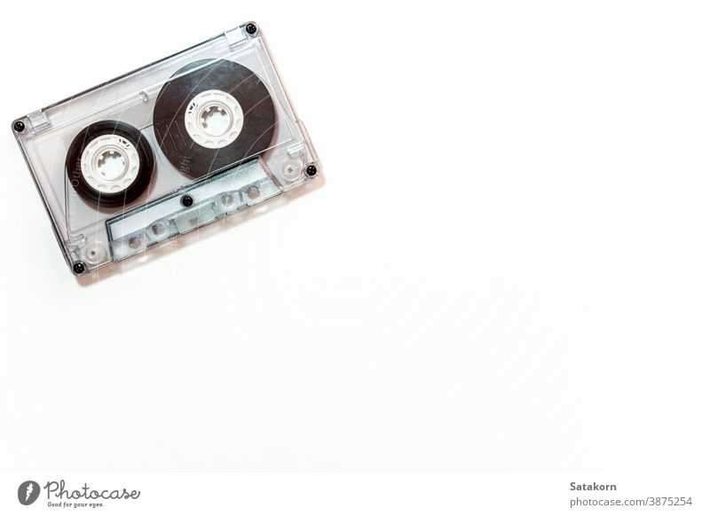 Audio cassette tape isolated on white background audio size small big retro sound old music listen vintage play media old-fashioned grunge copy aged plastic