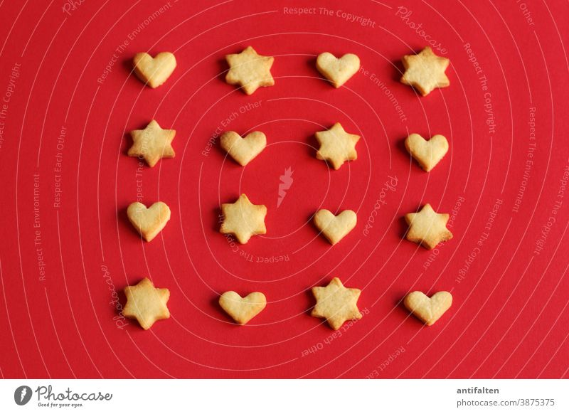 Nerve food biscuits bake biscuits Cookie cut out cookies Star (Symbol) stars Heart Heart-shaped Sincere cuddle Christmas & Advent Baking Baked goods Dough