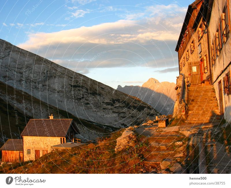 Sunrise at Watzmannhaus House (Residential Structure) Physics Morning Mountain Warmth Dawn Alps
