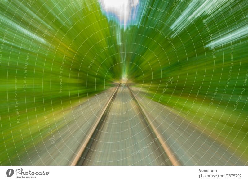 Train tracks creatively photographed with distortions Distorted Fraud warp harmonic distortion linear distortion contortions Photography photographic art