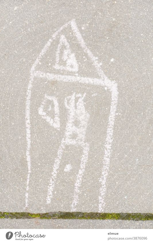House - painted with white chalk by a child on a grey pavement slab, with a green joint House (Residential Structure) Children's drawing