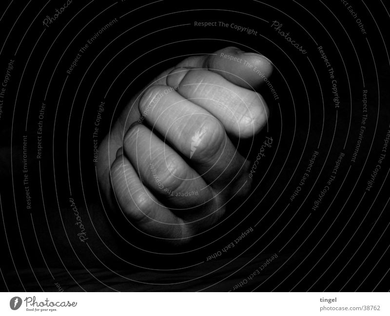 hand Hand Fist Fingers Dark Woman Black & white photo Structures and shapes Wrinkles