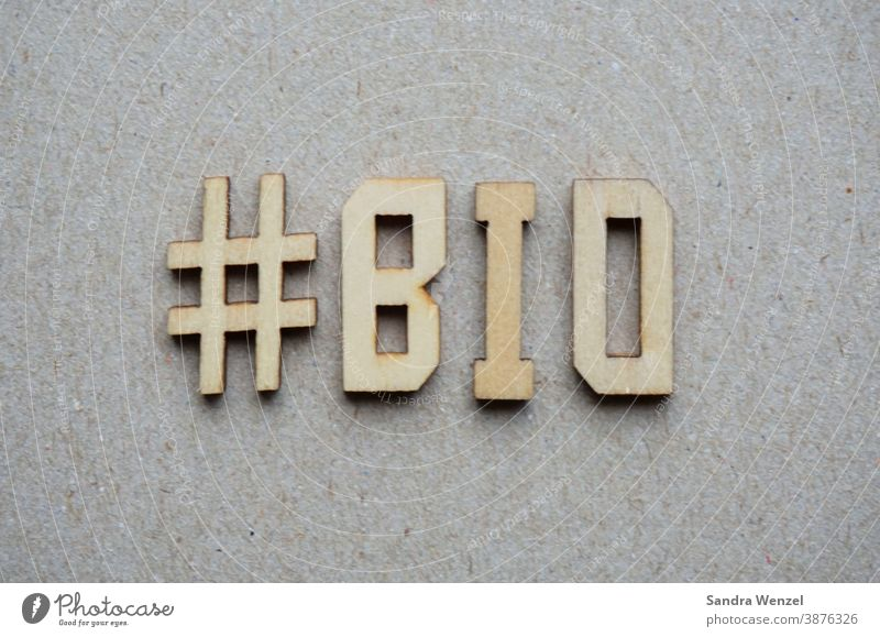 "The word ""Bio "" in wooden letters organic Biological Keeping of animals Species-appropriate Animal protection salubriously Nutrition without chemistry Food"