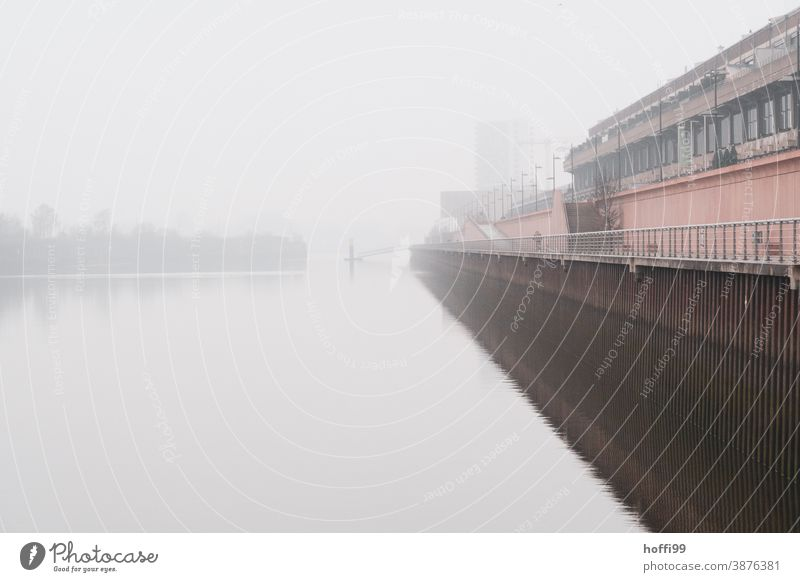 Fog on the quay in the harbour Ferry autumn fog Autumnal weather Shroud of fog pier Harbour Winter Weather Footbridge Lamp Jetty Water Navigation River bank Bay