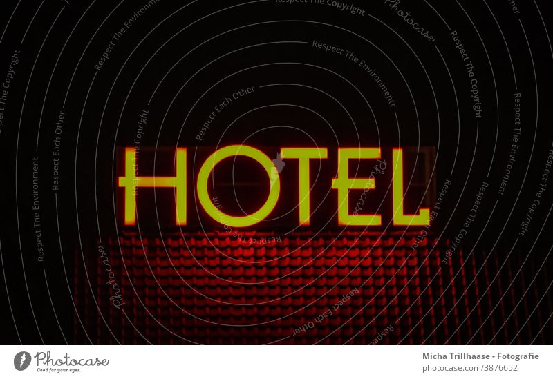 Hotel - illuminated advertising at night hotel industry Neon sign lettering Roof House (Residential Structure) house roof Night Illuminate Tourism Tourists