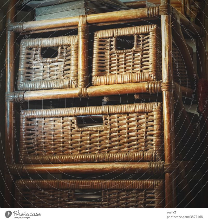 Bogumil Mask Face Wide Demanding Sharp-edged Anonymous Cupboard Drawers Wood rattan Interior shot Colour photo Old Deserted Wall (building) Furniture Light