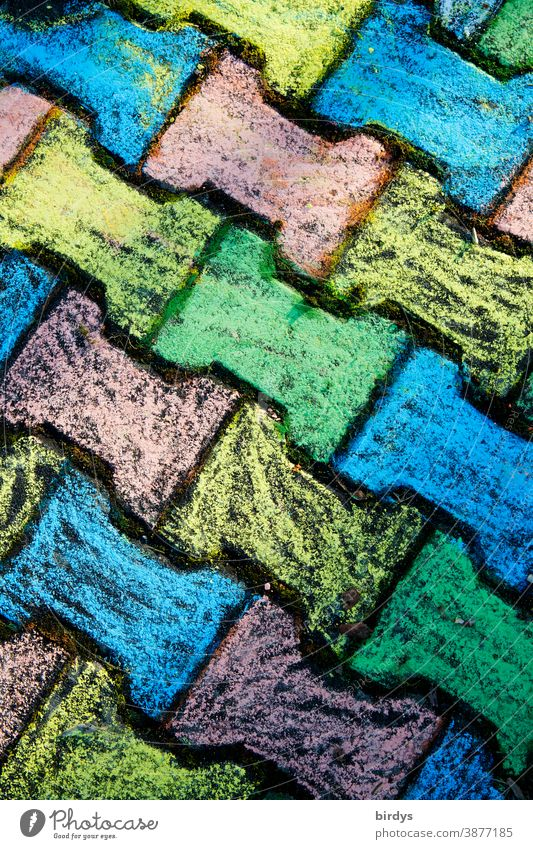 cobblestones painted with coloured chalk, bone stones,. format filling, bird's eye view crayon variegated Infancy Painted Colour colourfulness Positive symmetry