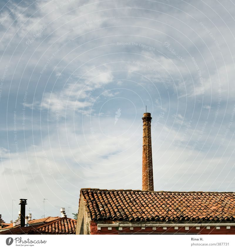 Roof & Chimney Clouds Beautiful weather Venice Town Building Old Blue Red Derelict Square Tiled roof Colour photo Exterior shot Deserted Copy Space left