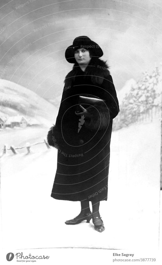 Lady in Black ...old photo Black & white photo Past Human being Analog Former preserve