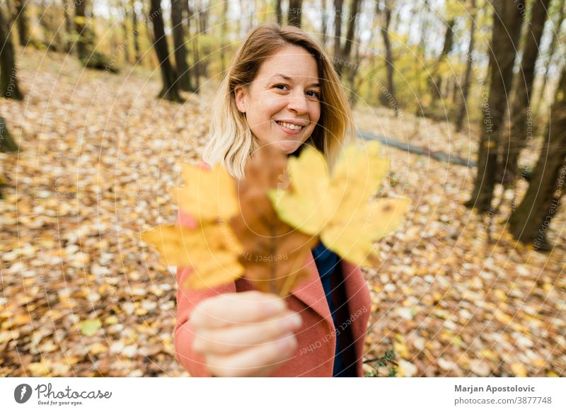 Young woman holding yellow autumn leaves in the forest 30s adult beautiful beauty blonde caucasian cheerful color cute enjoy fall female foliage fresh fun girl