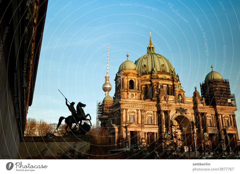 Berlin Cathedral, Altes Museum and Television Tower Architecture Office city Germany Worm's-eye view Capital city House (Residential Structure) Sky downtown