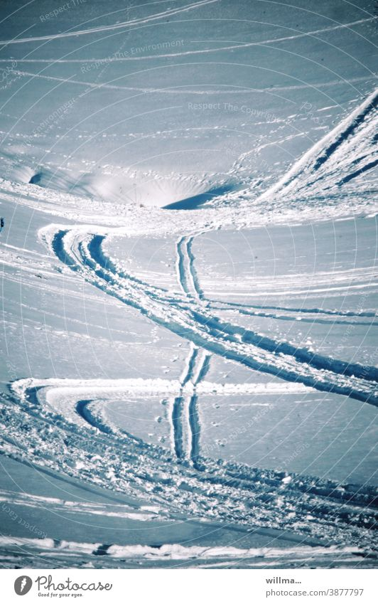 Tracks of snowshoers in deep snow on the mountainside Winter sports Snow snow slope Snowshoeing Skiing Winter vacation Exterior shot Vacation & Travel