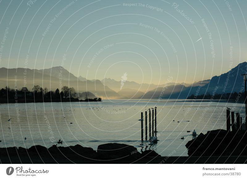 Lake Lucerne Switzerland Vierwaldsättersee Mountain kiss night