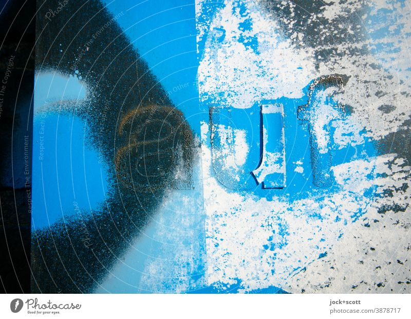 sprayed surface with the word on Surface Blue Spray Street art Subculture Paint traces Creativity Detail Word Typography Abstract Signs and labeling
