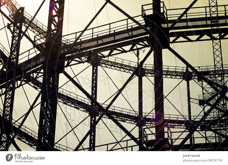 Detail of the Gasometer in backlight Architecture Schöneberg Historic Construction Structures and shapes Twilight Sunlight Contrast Silhouette Back-light