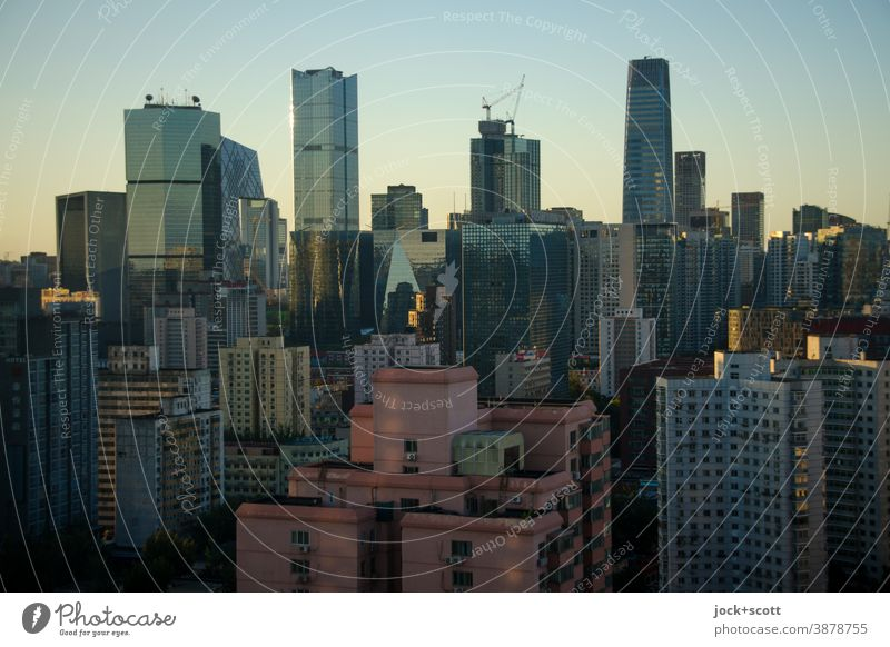 Banking district in the evening light High-rise Office building Skyline Downtown Tower block Facade Might Authentic Capital city Beijing City Dusk Architecture