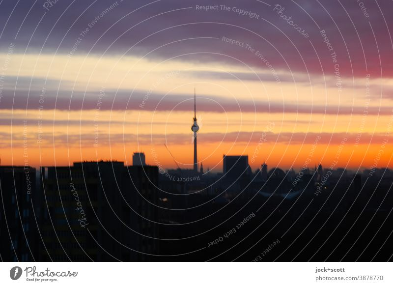 Sunset over the big city Capital city Berlin TV Tower Background picture Light (Natural Phenomenon) Panorama (View) Silhouette Town Evening Low-key Landmark