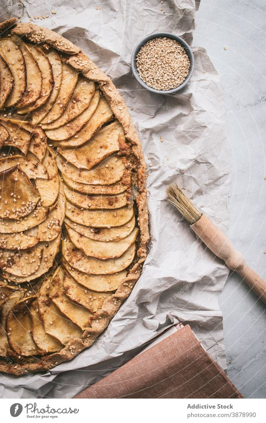Apple Galette served on table apple galette cooked edible apple pie crust sugar cinnamon french baked tasty fresh healthy apples organic bakery spice meal slice