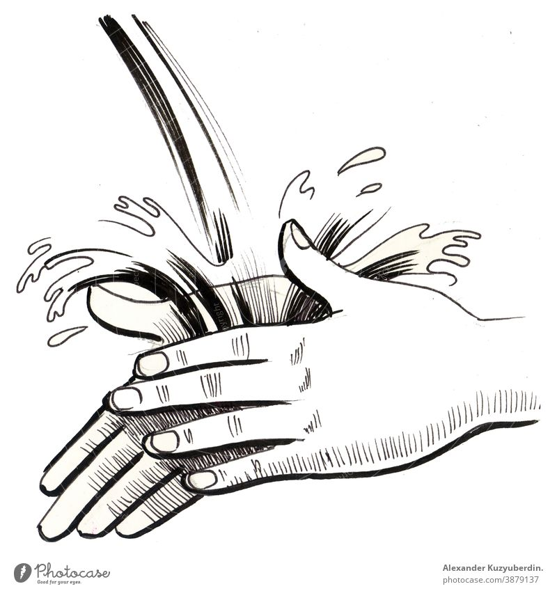 Hand washing in running water. Ink black and white drawing hands hygiene clean soap art artwork background illustration sketch ink