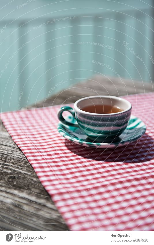 teatime Beverage Hot drink Tea Crockery Cup Table Restaurant Drinking Summer Beautiful weather Esthetic Fresh Healthy Retro Green Red White Calm Wooden table