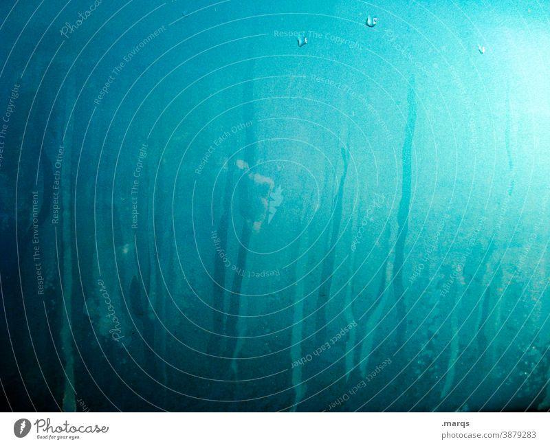 glass paste Pane Glass Hazy Abstract Blue Colour Dye Daub Trashy Close-up Fluid