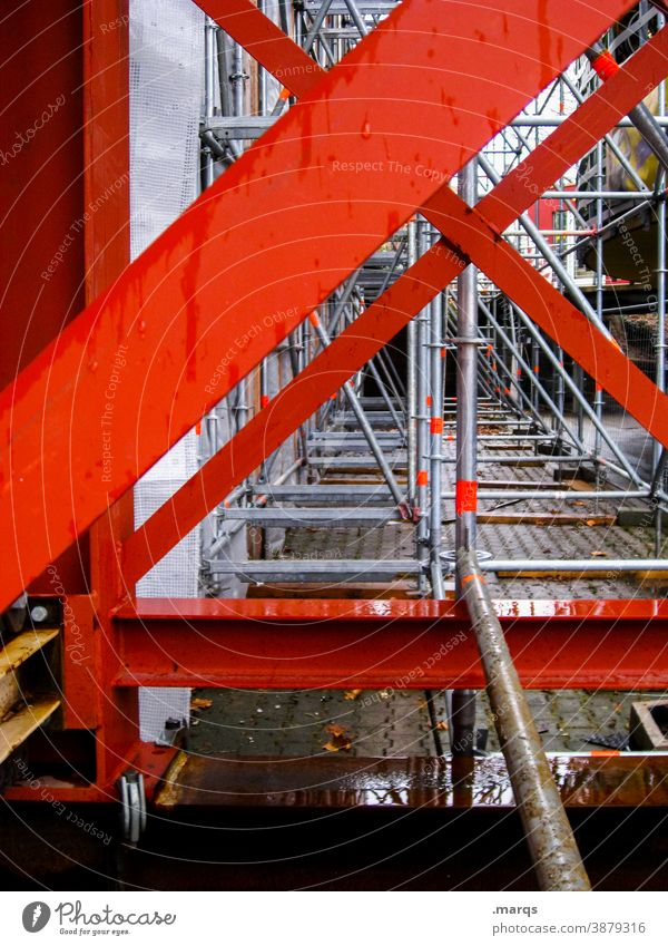 steel structure Steel construction Scaffold Construction site Perspective Red Metal Steel carrier Architecture