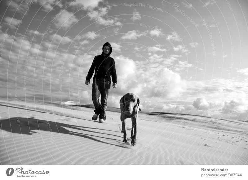 Dog Human being Sky Man Vacation & Travel Animal Adults Far-off places Lanes & trails Freedom Sand Climate Walking Hiking Beautiful weather Elements